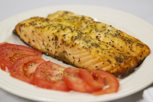 Seasoned and Baked Salmon with Roma Tomatoes