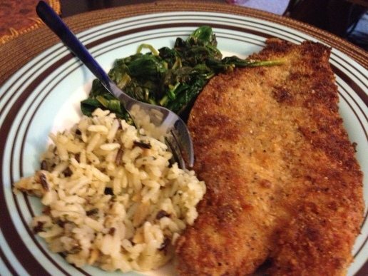 Pan Fried Grouper, Wild Rice and Sauteed Spinach